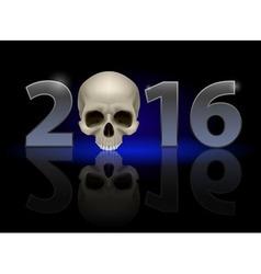 Twenty-sixteen with skull vector image vector image