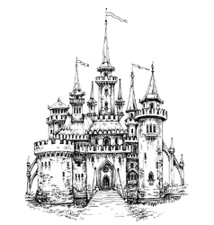 castle front view Pencil hand drawing ready to vector image vector image