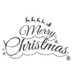 colourless merry christmas greeting card with text vector image vector image