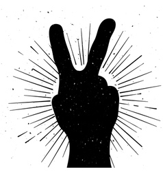 Distressed peace sign silhouette vector image vector image