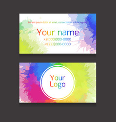 double-sided business card template with vector image