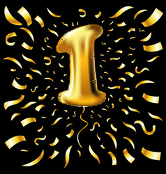 golden number one 1 first metallic balloon party vector image vector image