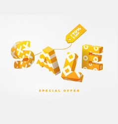 sale 3d sign yellow on white vector image