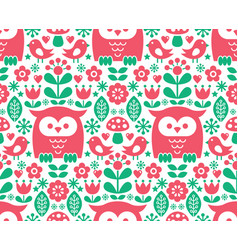 seamless scandinavian pattern nordic folk art vector image
