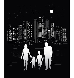 Urban background and family silhouettes vector image