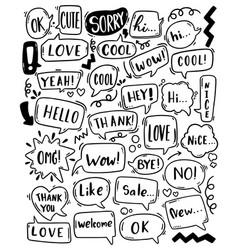 0080 hand drawn background set cute speech vector