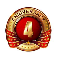 4 anniversary golden label with ribbon vector image