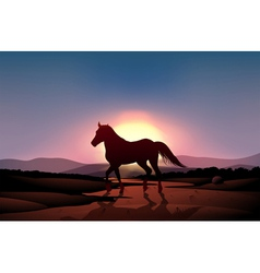 A sunset with horse vector