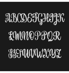 Alphabet calligraphic font chalk effect vector