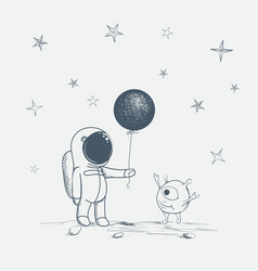 Astronaut gives a balloon to alien vector