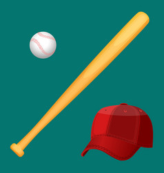 Baseball cap wooden special bat and ball in vector