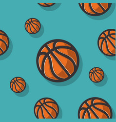 basketball themed seamless pattern with vector image