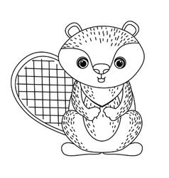 beaver cute wildlife icon vector image