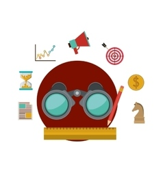Binocular and social media icon set vector