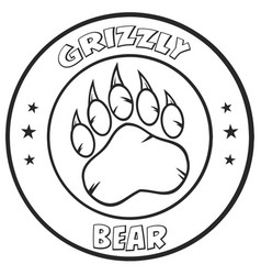 black and white bear paw vector image