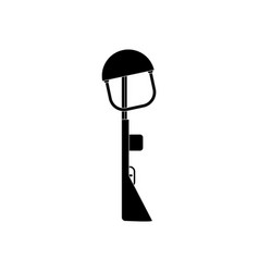 Black icon on white background military rifle and vector