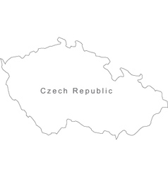 Black White Czech Republic Outline Map vector image