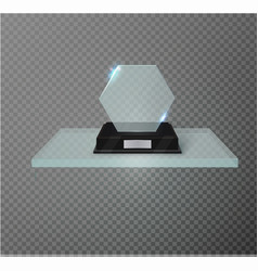 Blank glass award trophy on a transparent vector