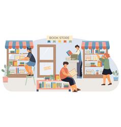 book shop flat composition vector image