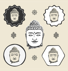 buddha head buddhism icon flat web sign symbol vector image