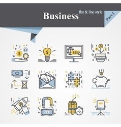 Business flat and line vector image