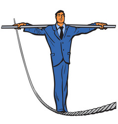 business man rope walker stability and courage vector image