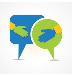 Businessman handshake background with message bubb vector