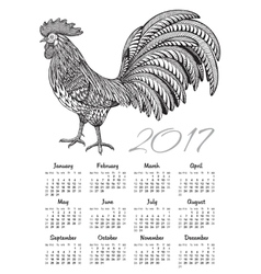 Calendar 2017 Chinese New Year with ornate fiery vector image