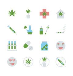 Cannabis in flat icon set design vector