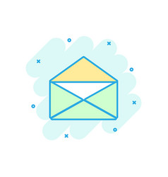 cartoon colored mail envelope icon in comic style vector image