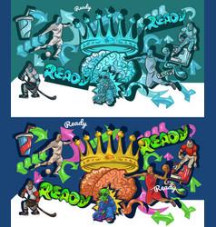 Cartoon graffiti style sports collage graffiti vector