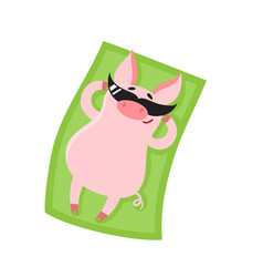 cartoon pig girl with sun glasses sunbathing vector image