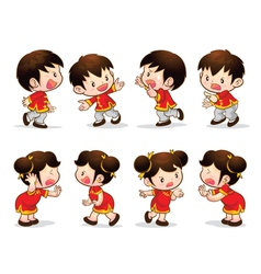 Chinese boy girl actions vector