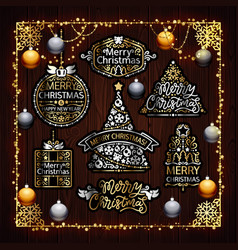 Christmas golden decorations set with colorful vector