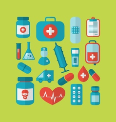 collection trendy flat medical icons - vector image