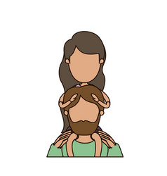 Colorful caricature faceless half body bearded vector