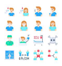 coronavirus disease 2019 related icon set 2 flat vector image