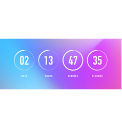 Countdown clock with circle days hours vector