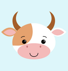 cow flat cartoon style cute vector image