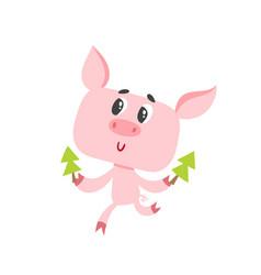 Cute cartoon pig with christmas trees isolated on vector
