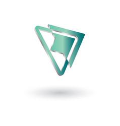 delta arrow glossy 3d logo vector image
