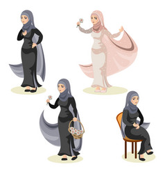 diverse set of arab woman vector image