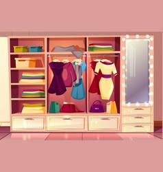 Dressing room with wardrobe illuminated vector