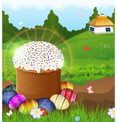 Easter bread and painted eggs on the meadow vector