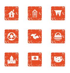 eco burg icons set grunge style vector image