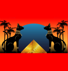 egyptian cats and antique pyramid bastet ancient vector image