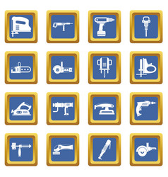 Electric tools icons set blue vector