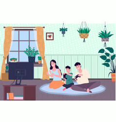 Family playing video game mom dad and son gaming vector