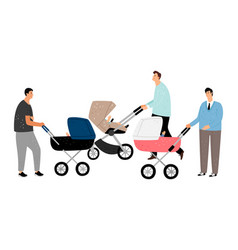 Fathers with baby stroller vector