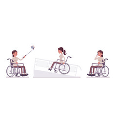 Female young wheelchair user with phone selfie vector